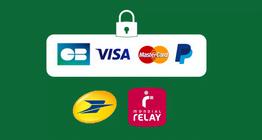 Paiement par cb, visa, martercard et paypal. Livraison par la poste et mondial relay.